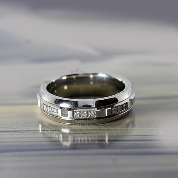 6.5mm cobalt and 10 karat white gold ring with diamond inlay by madani