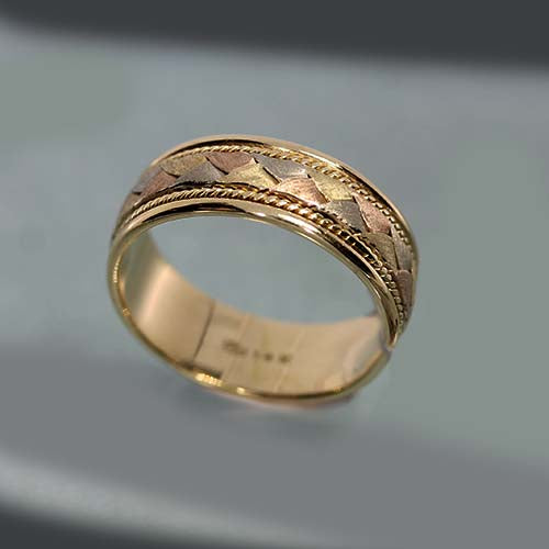 Vintage Mens Three Colour Gold Ring