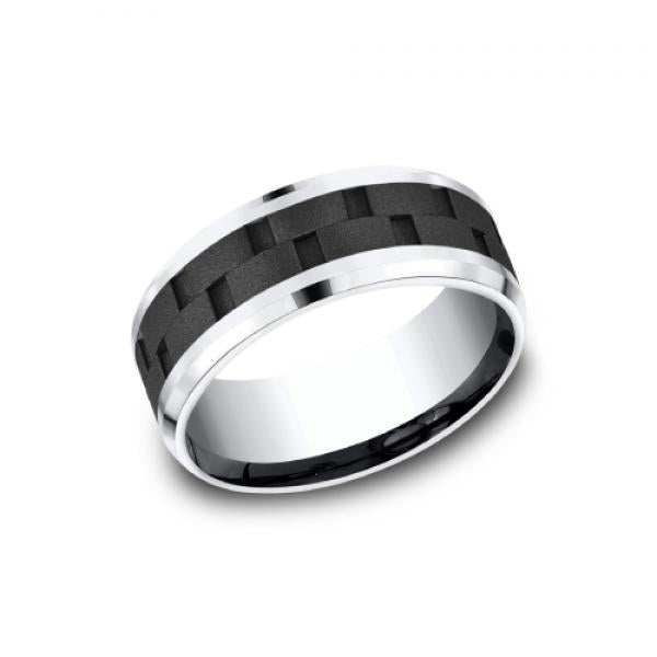 8mm black and grey cobalt ring with brick pattern inlay
