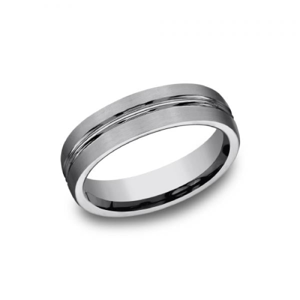 Benchmark 6mm Tungsten Satin Finish & High polished Groove Men's Ring