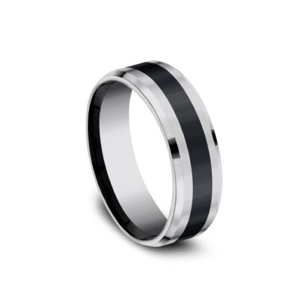 Benchmark 7mm Two- Tone Black Ceramic & Grey Tungsten High Polish Men's Ring