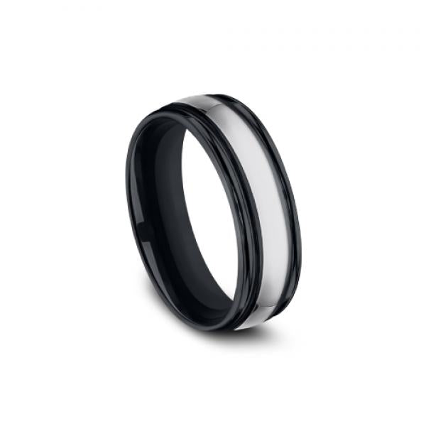 7mm grey tungsten and black ceramic ring
