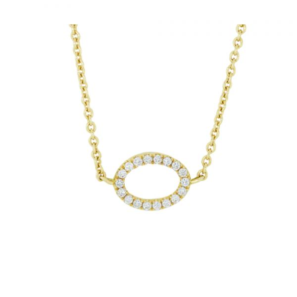 18k Yellow Gold Diamond Mini Open Oval Necklace
