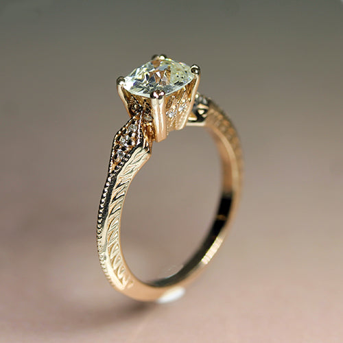 14K Old-European Cut Vintage-Style Diamond Engagement Ring