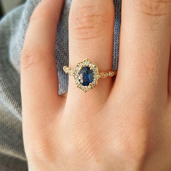 14k Yellow Gold Blue Oval Sapphire and Diamond Halo Ornate Engagement Ring