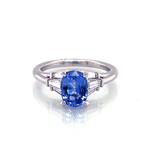 Gabrie & Co oval sapphire and baguette diamond engagement ring