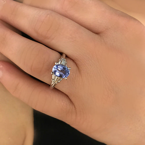 1.76 ct oval sapphire set with baguette diamonds from Gabriel & Co 14k white gold