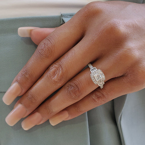 pre-owned princess cut diamond engagement ring