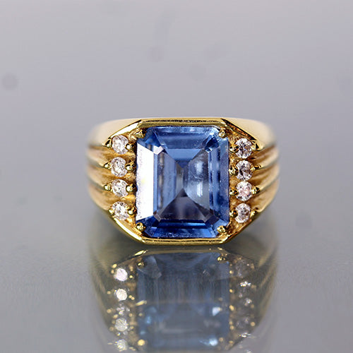 18 karat yellowg old, large emerald-cut synthetic blue spinel, diamond accent, estate ring
