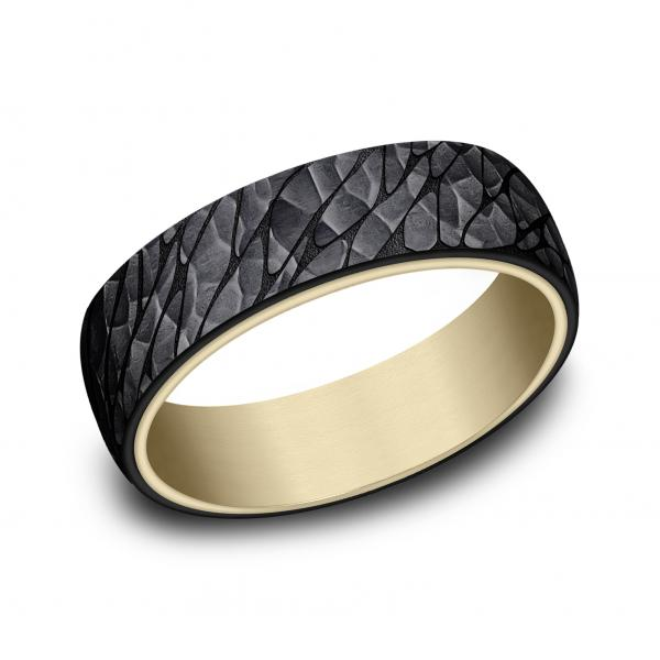 Benchmark: Ammara Stone 6.5mm 14k Yellow Gold & Black Tantalum Pebble Finish Men's Ring