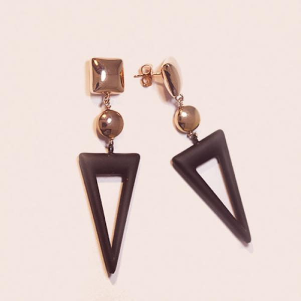 Marcello Pane 18k Rose Gold Plate Sterling Silver Italian Rubber Geometric Earrings