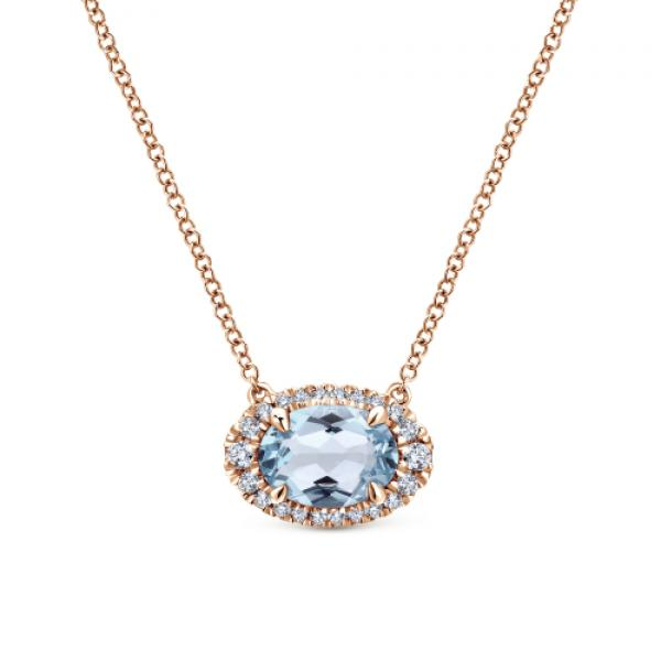 Gabriel & Co. 14k Rose Gold Oval Aquamarine and Diamond Necklace