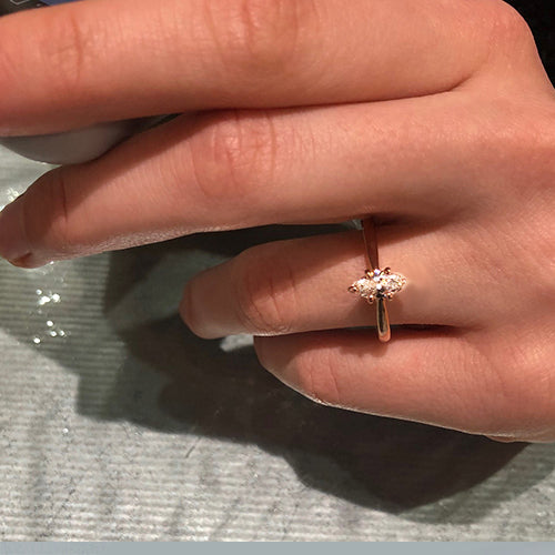 14k rose gold marquise diamond ring