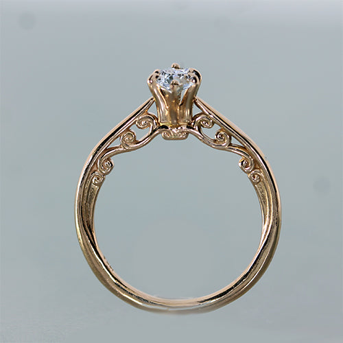 Rose gold marquise shape diamond engagement ring 14k gold
