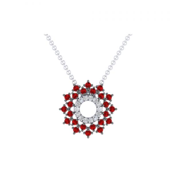 Gabriel & Co. 14k White Gold Ruby & Diamond Pendant Necklace