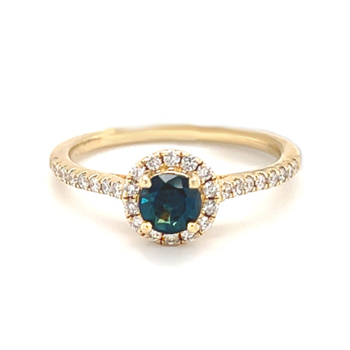14k Yellow Gold 0.56ct Greenish Blue Sapphire Halo Diamond Engagement Ring