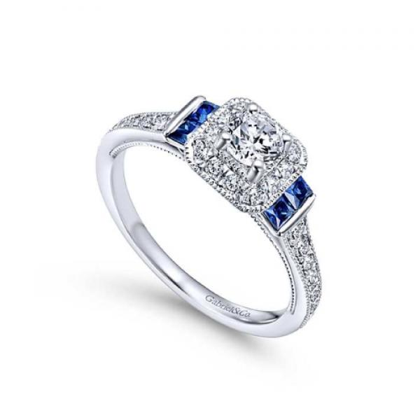 Gabriel & Co. 14k White Gold Sapphire & Diamond 3 Stone Halo Engagement Ring