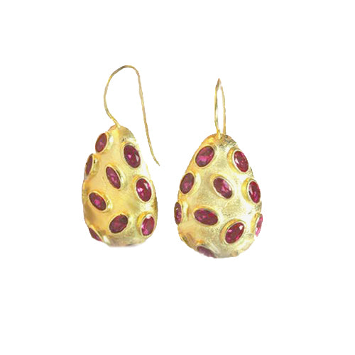 Sterling Silver Gold-Plate Solid Teardrop Earrings with Red CZ