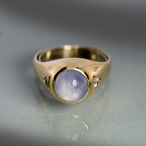 Vintage Mens 14k Star Sapphire and Diamond  Ring