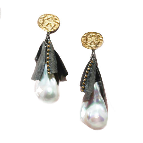 Textured Sterling Silver Baroque Pearl Drop Earrings