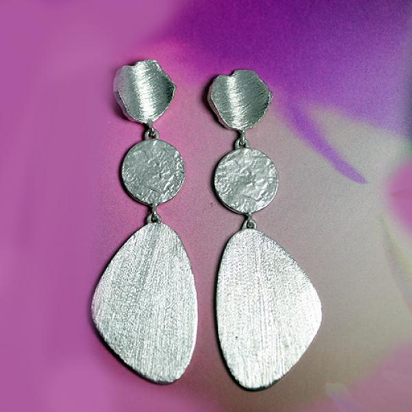 Petit Bijoux Sterling Silver Pebble Statement Drop Earrings