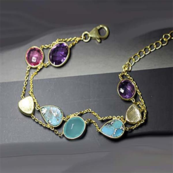 Petit Bijoux 18k Yellow Gold Plate Sterling Silver Double-Strand Bracelet with Amethyst, Turquoise, Aqua Chalcedony & Pink Tourmaline