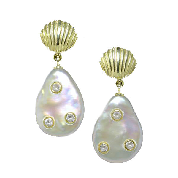 Sterling Silver Gold Plated Pearl and Cubic Zirconia 'Shell' Drop Earrings