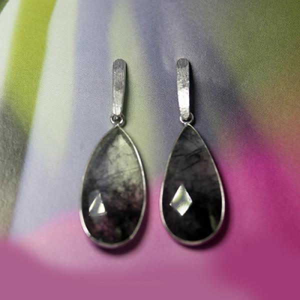 Petit Bijoux Drop Earrings with Natural Rutilated Quartz in Sterling Silver