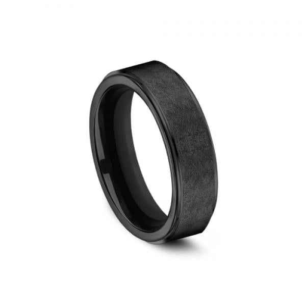 Benchmark Men's Black Titanium Swirl Finish Wedding Ring