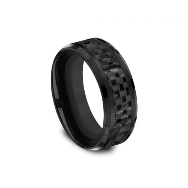 Benchmark Men's Black Titanium 8mm Brick Pattern Wedding Ring