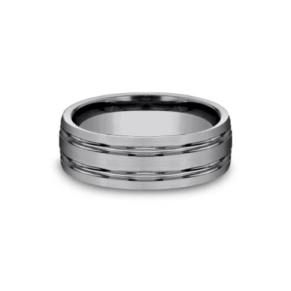 7mm satin finish tungsten ring with parallel lines inlay