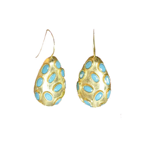 Sterling Silver Gold Plate Teardrop Earrings with Turquoise