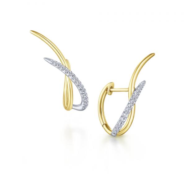 Gabriel & Co. 14k White and Yellow Gold Twisted Diamond Earrings