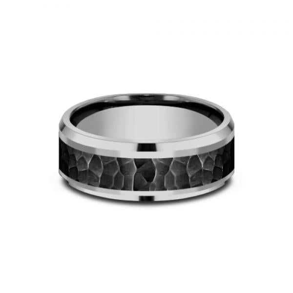 Benchmark Two-tone Tantalum and Black Titanium Hammer Finish Men's Ring