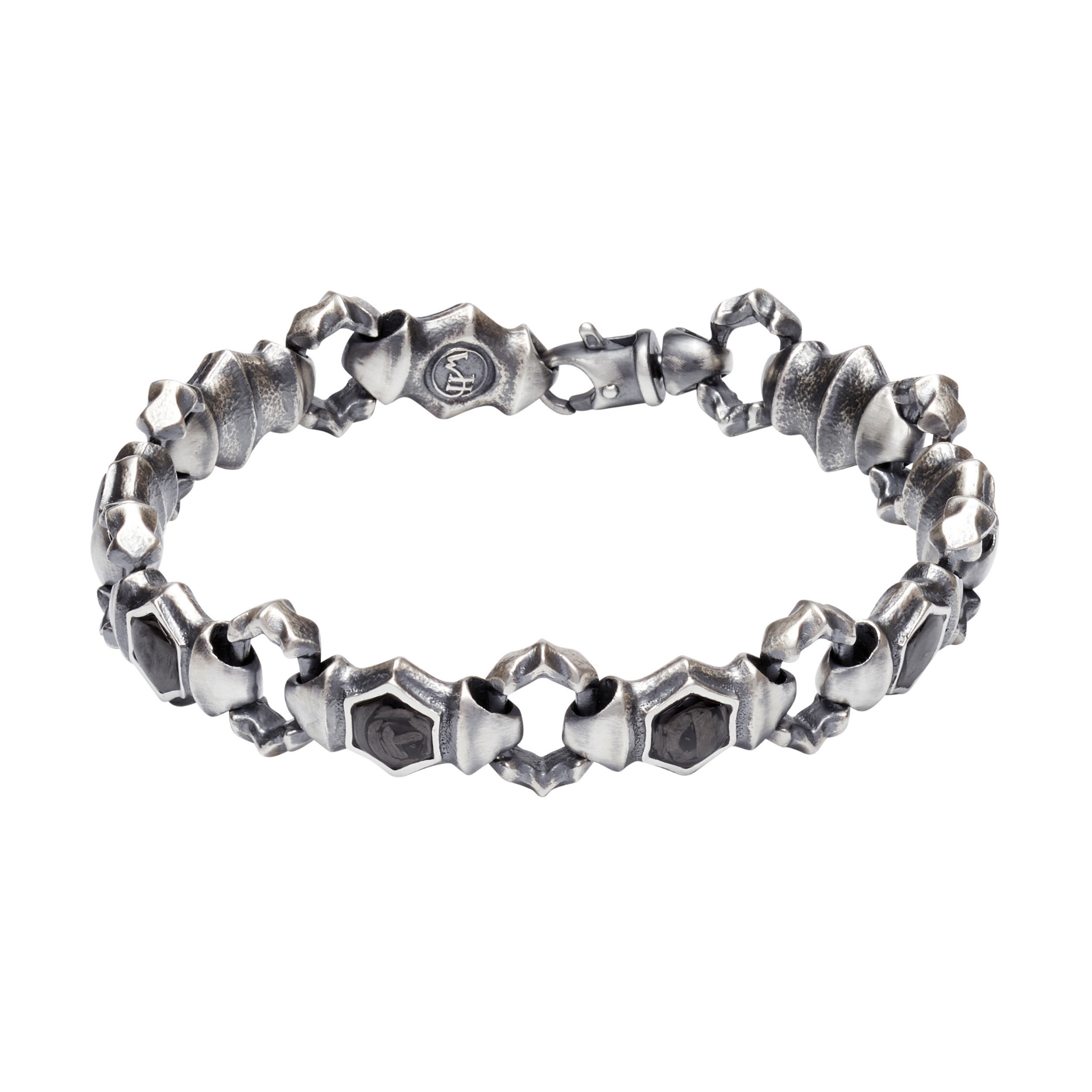 William Henry 'Carbon Quest' Sterling Silver & Crushed Carbon Inlay Masculine Bracelet