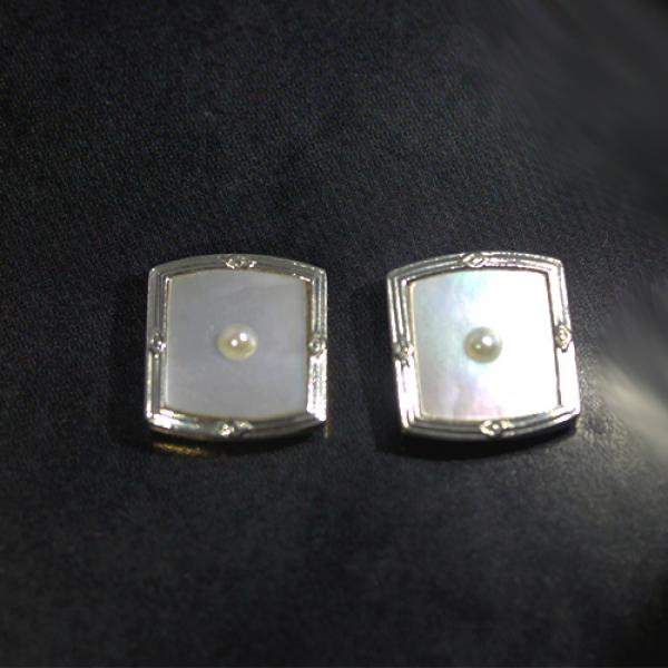 Estate Platinum & 18k Yellow Gold Art Deco Mother of Pearl & Seed Pearl Stud Earrings
