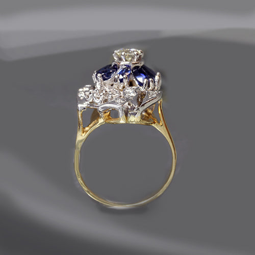 Vintage Sapphire and Diamond Flower Ring