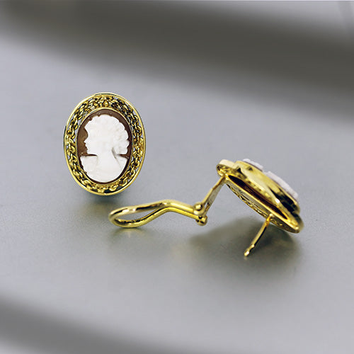 Estate 18k Yellow Gold White Cameo Earrings