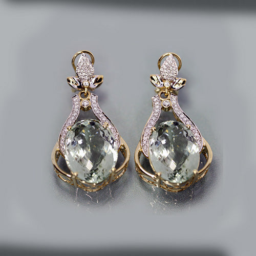 14 karat yellow and white gold, 26.62 carat total weight, green amethyst, 1.00 total carat weight, diamond accents, drop style, vintage earrings