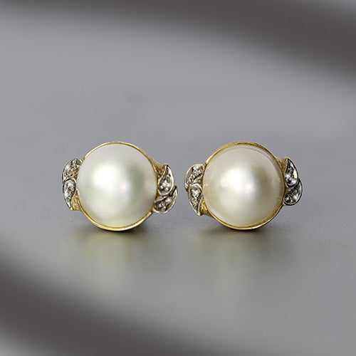 Vintage 14k Yellow Gold Mabe Pearl & Diamond Stud Earrings