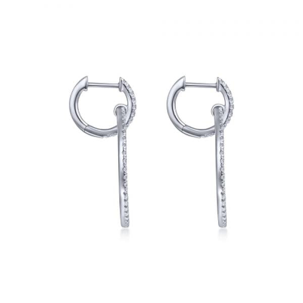 Gabriel & Co. 14K White Gold Round Linked Diamond Hoop Earrings