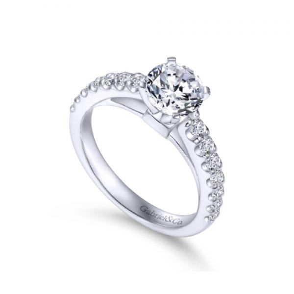 Gabriel & Co. 14K White Gold Round Straight Line Diamond Engagement Ring
