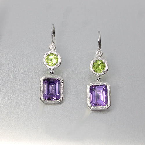 18K White Gold Drop Earrings with Amethyst, Peridot and Diamonds