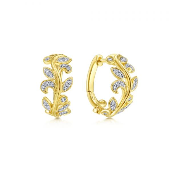 Gabriel & Co. 14k Yellow Gold and Diamond Leaf Earrings