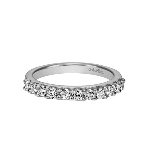 Gabriel & Co. 11 Diamond Shared Prong White Gold Wedding Band