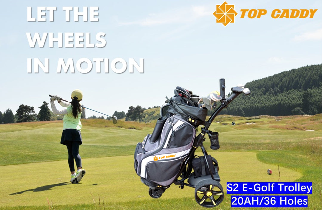 TopCaddy S2 Electric Golf Trundler with 36 Holes Lithium Battery & Seat