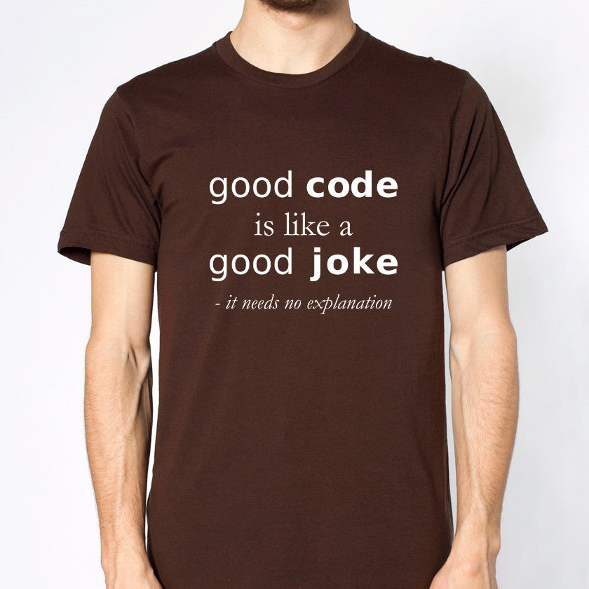 Good code is like a good joke: It needs no explanation