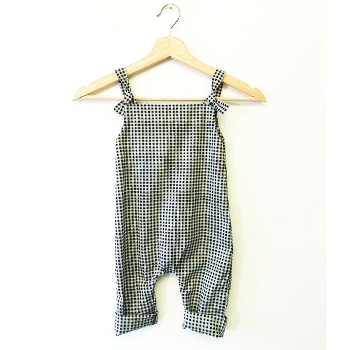 Cotton Baby Romper | Navy Gingham | Breast Dressed