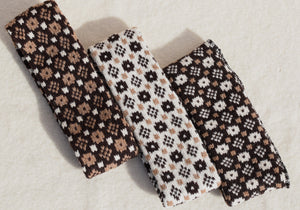 Headbands with 'Crown and the Goose Eye' pattern