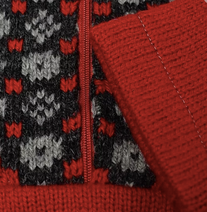 Girls sweater in red with faroese pattern